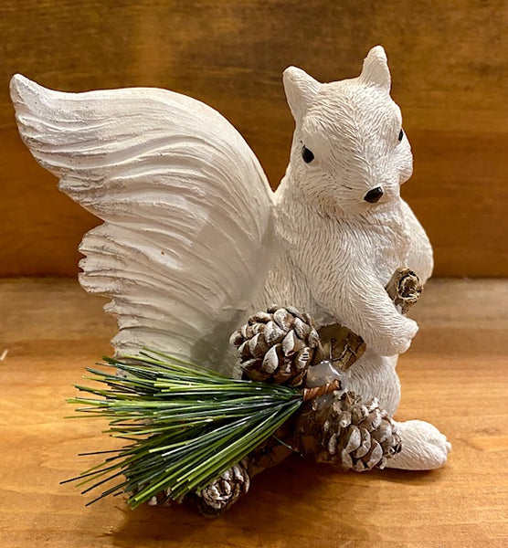 Home Decor - White Squirrel Figurine Holding a Pine Branch