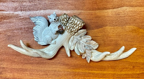 Home Decor - White Squirrel Wall Hanging - White Squirrel Perched on Antlers