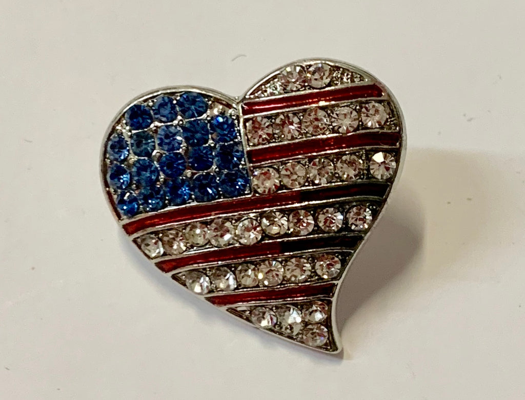 Patriotic Jewelry - Hat/Lapel Pin - Red, White & Blue Heart with Crystal Flag Design
