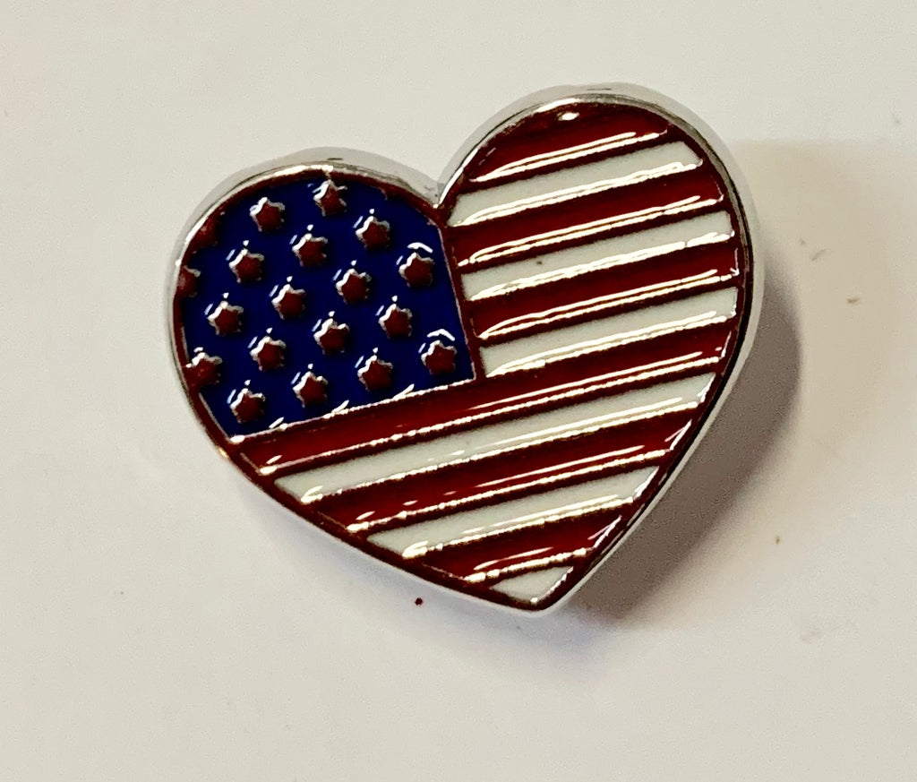 Patriotic Jewelry - Hat/Lapel Pin - Small Red, White & Blue Heart