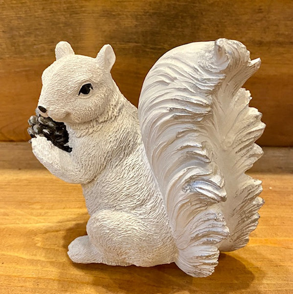 Home Decor - White Squirrel Figurine Holding Large Pine Cone