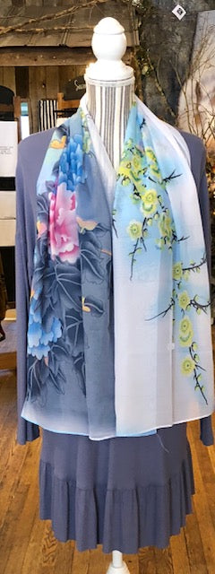 Clothing Accessory - Silky Scarf with Springtime Flowers and Birds
