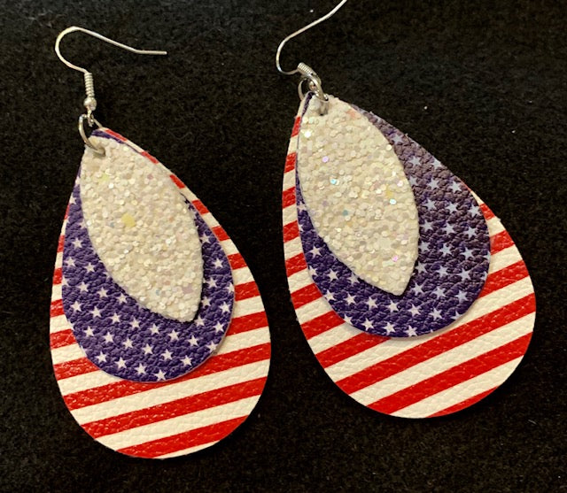 Jewelry - Patriotic Leather Earrings - Three Tier