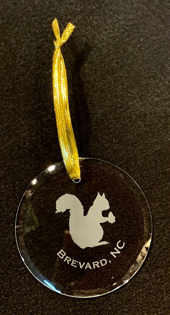 Ornament - Crystal Ornament with Etched White Squirrel