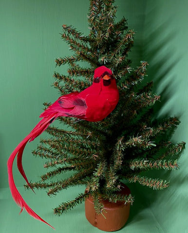 "Birds - Red Cardinals - Flocked with Real Feathers - 4"" - with Alligator Clips"
