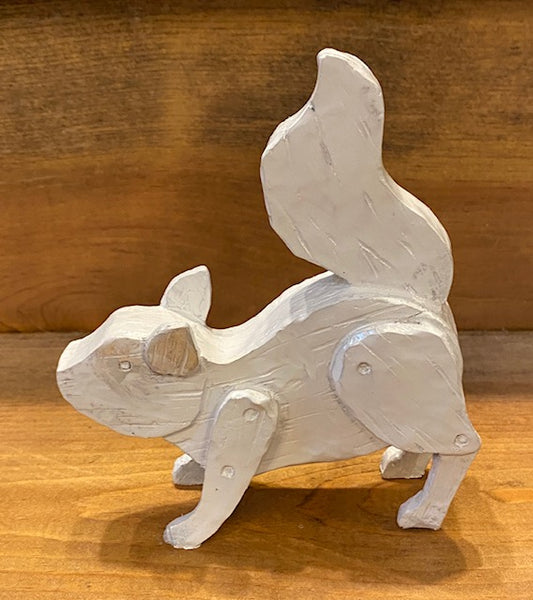 White Squirrel Faux Wood Figurine