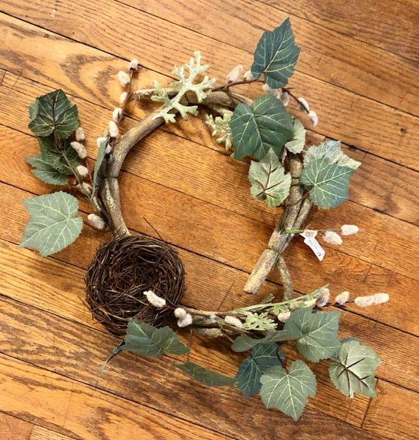 Home Decor - Wreath made from Pussywillow with a nest 14""