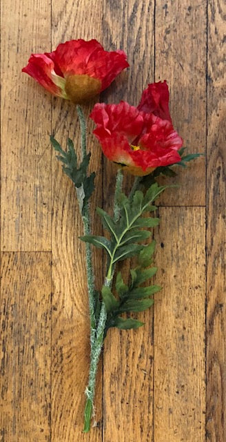 "Stem - 15"" Red Silk Poppy"