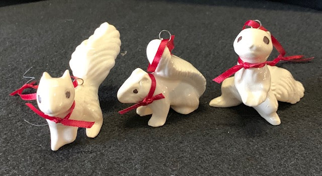 Ornament - Hand-Crafted Pottery White Squirrels