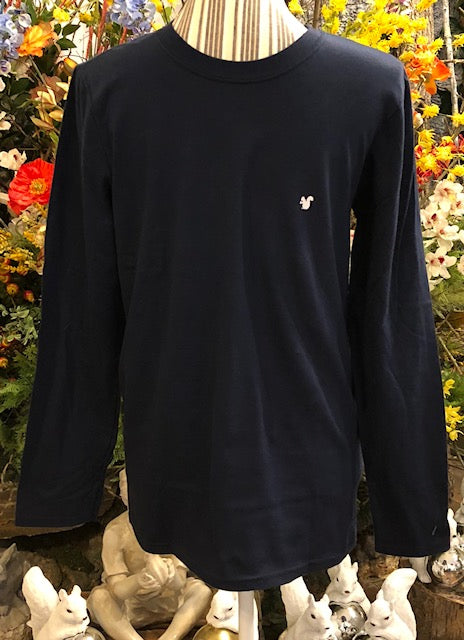 T-Shirt - Long-Sleeved Navy Blue with Small White Squirrel Insignia - Polo Style