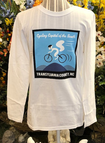 T-Shirt - Long Sleeve, Crew Neck in Black or White with Cycling White Squirrel on Front