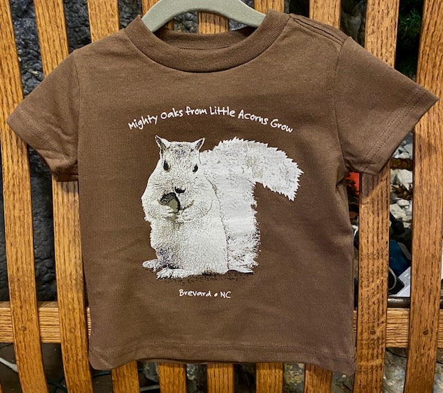 "T-Shirt - For Toddlers - ""Mighty Oaks From Little Acorns Grow"" - Brown Short Sleeve"