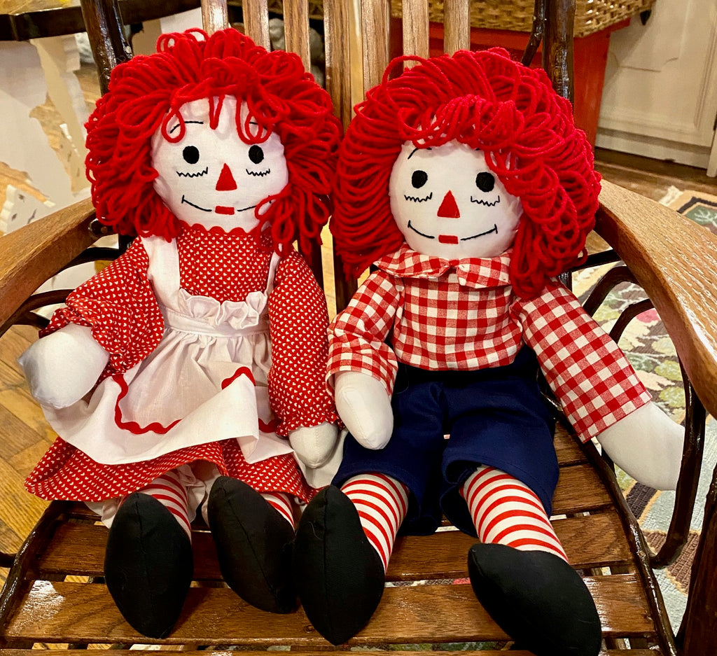 Raggedy Ann & Raggedy Andy Dolls - Hand-Crafted by a Local Artist