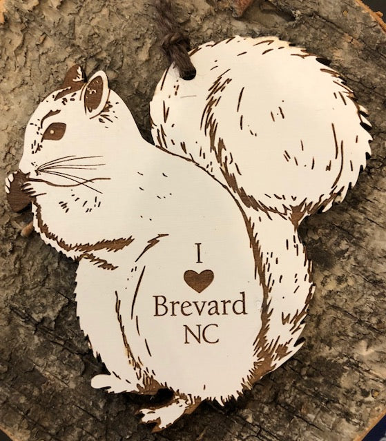"Ornament - Laser-Cut White Squirrel with the words ""I Love Brevard, NC"""