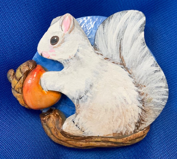 Jewelry - Hand-Painted and Hand-Carved White Squirrel Brooches