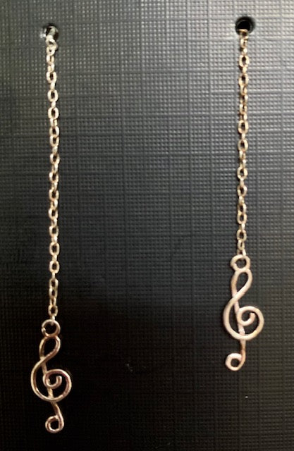 Jewelry - Gold Finish Treble Clef Earrings on a Delicate Chain