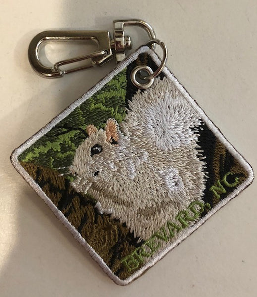 "Key Clip - ""Hiking"" symbol on one side......our White Squirrel on the other side"