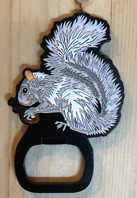 Magnet Bottle Opener - Metal White Squirrel with Magnetic Back
