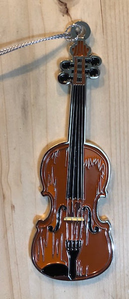 "Ornament - Metal Fiddle with White Squirrel & ""Brevard, NC"" on the back"