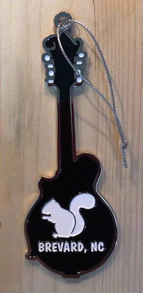 "Ornament - Metal Mandolin with White Squirrel & ""Brevard, NC"" on the back"