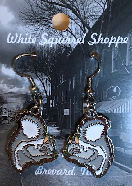 Jewelry - White Squirrel Metal Earrings with Brevard, NC engraved on backside