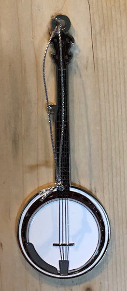 "Ornament - Metal Banjo with White Squirrel & ""Brevard, NC"" on the back"