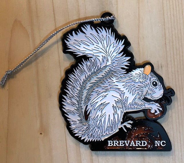 Ornament - White Metal Squirrel on a Log Holding an Acorn