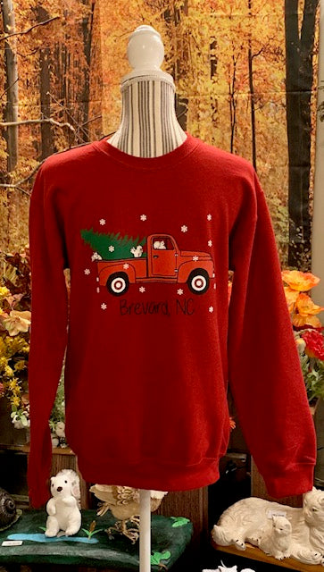 Christmas Sweatshirt - For Adults - Unisex Antique Cherry Red with Red Truck Design