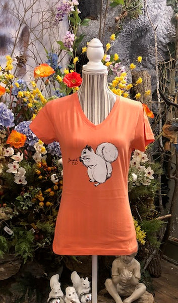T-Shirt - For Women - Short Sleeve, V-Neck with White Squirrel in Front