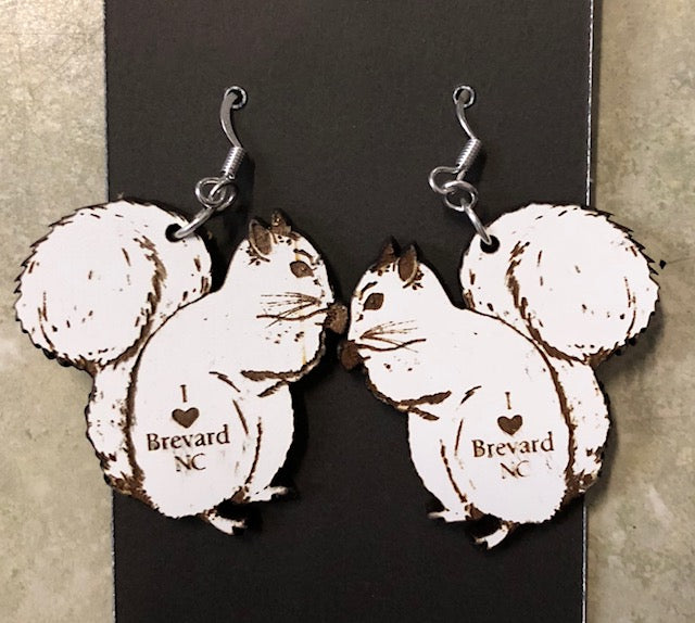 "Jewelry - Laser-Cut Wooden White Squirrel Earrings imprinted with ""I Love Brevard"""