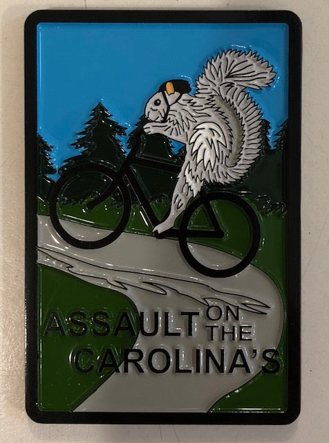 "Magnet - ""Assault on the Carolinas"" White Squirrel Bike Riding Metal Magnet"