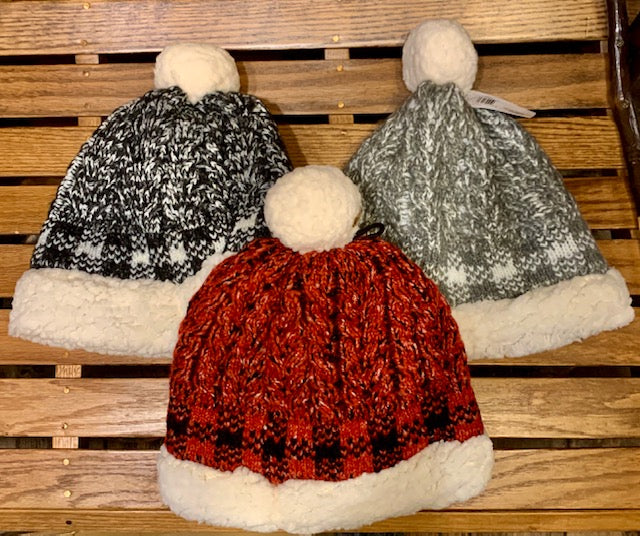 Clothing Accessory - Buffalo Plaid Sherpa-Lined Beanie with Pom Pom