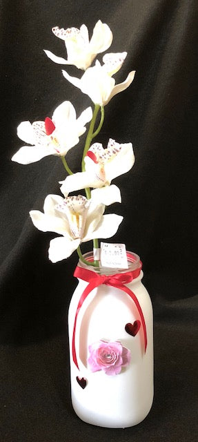 Bouquet - Mother's Day Orchid in Hand-Painted Mason Jar