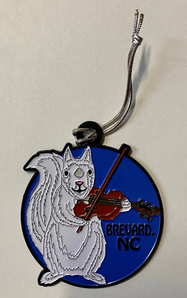 Ornament - Metal - White Squirrel Playing a Fiddle