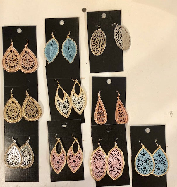 Jewelry - Earrings - Two-Tone Dangly Filigree