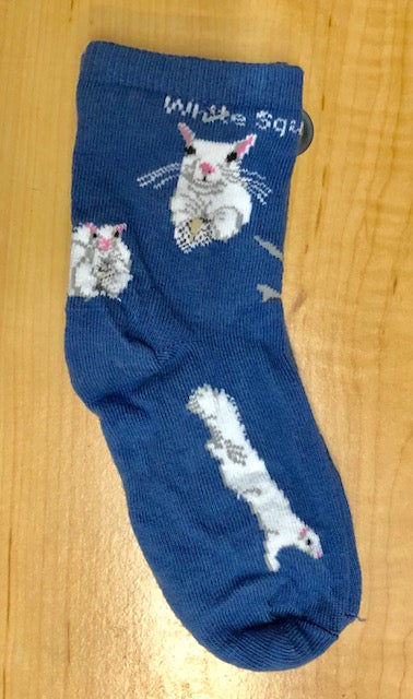 Socks - For Youth - Custom-Designed White Squirrel Socks on Denim Blue Background