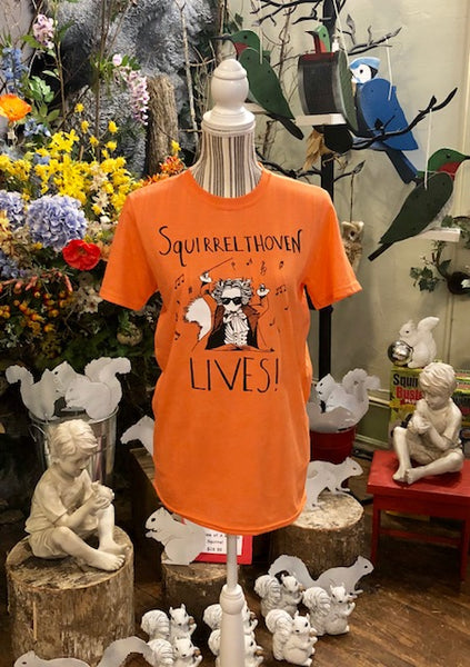 "T-Shirt - For Adults - Crew Neck, Short Sleeve with the Words ""Squirrelthoven Lives!"""