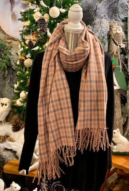 "Clothing Accessory - Pink and Gray Ultra Warm Plaid Scarf with Fringe - 82"" x 30"""