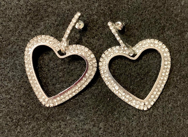 Jewelry - Rhinestone Heart Earrings