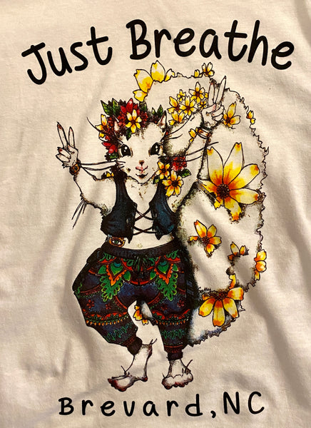 "T-Shirt - For Youth - Hippie White Squirrel Girl - Short Sleeve Crew Neck with ""Just Breathe"""