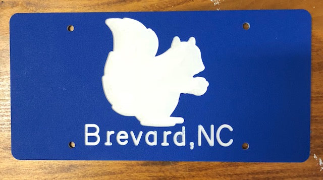 License Plate - Blue Background with Silhouette of our White Squirrel