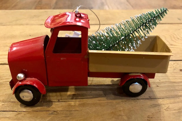 Ornament - Little Red Pick-Up Truck and Little Red Car with Xmas Tree