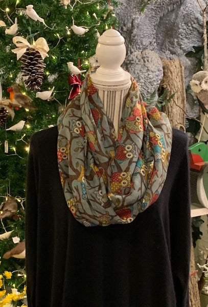 Clothing Accessory - Viscose Infinity Scarf with Owl Design