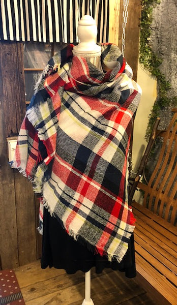 Clothing Accessory -Blanket Scarf - Oversized - Multi Color Plaids