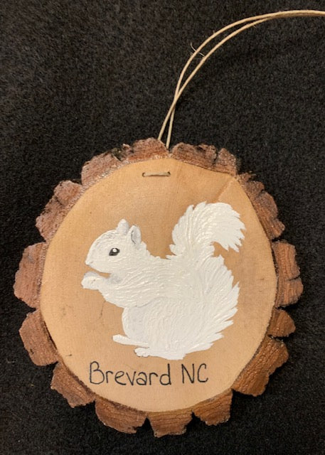 Ornament - Wood Slice with Bark - White Squirrel - Hand-Painted
