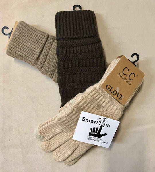 "Clothing Accessories - Cable Knit Texting Gloves to Match ""CC"" Beanies"
