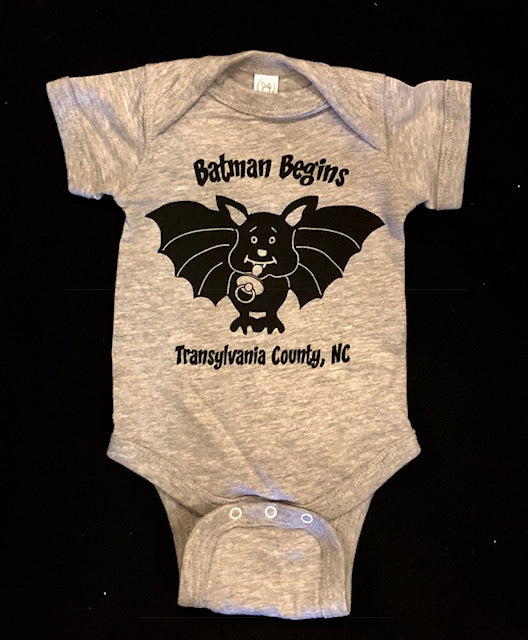 "t-shirt - Onesies for Babies - ""Batman Begins"" in Heathered Gray, Short Sleeve"