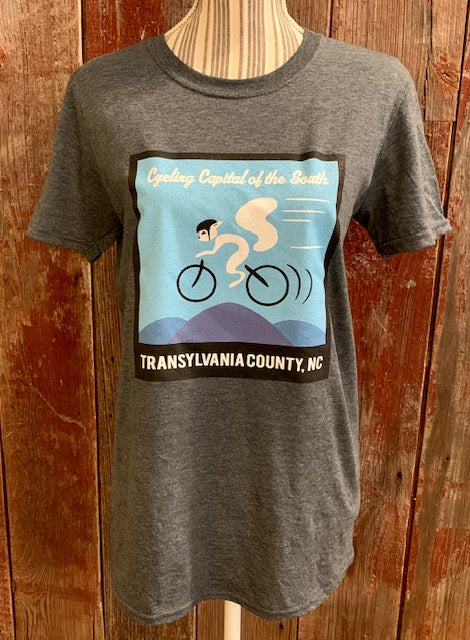 t-shirt - For Adults- Heathered Grey Crew Neck Short Sleeve Cycling White Squirrel