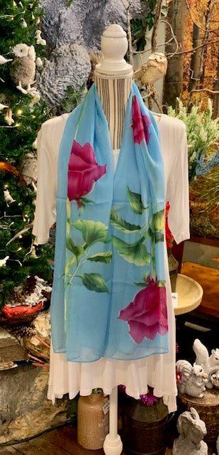 Clothing Accessory - Silky Summer Scarf with Fuschia Roses