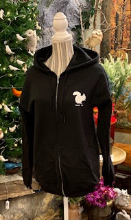 Clothing - Black Heavy Weight Hoodie with White Squirrel Embellishment